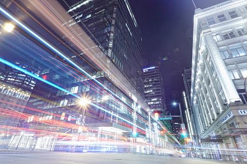 Blurred Motion「Light trails in Vancouver city center」:スマホ壁紙(15)