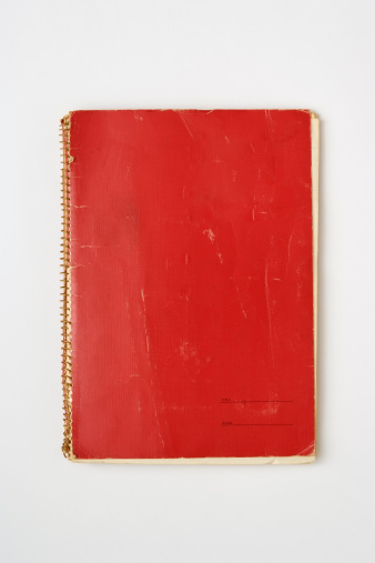 Bad Condition「Isolated shot of old red spiral notebook on white background」:スマホ壁紙(4)