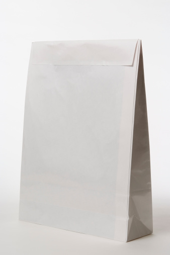 Single Word「Isolated shot of closed blank paper bag on white background」:スマホ壁紙(5)