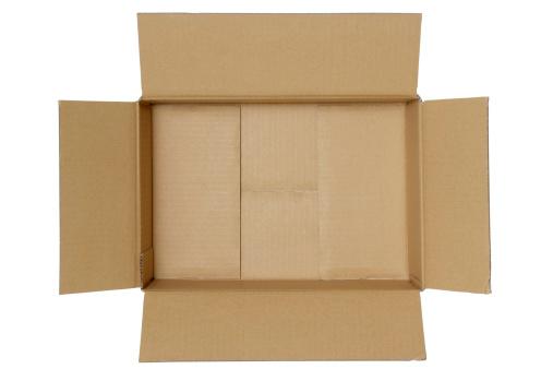 Cardboard「Isolated shot of opened blank cardboard box on white background」:スマホ壁紙(16)