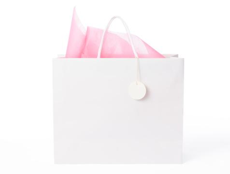 ピンク色「絶縁ショットの空白のショッピングバッグ、白でタグ」:スマホ壁紙(2)