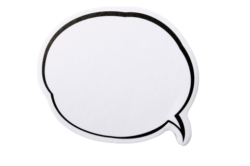 Text「Isolated shot of speech bubble adhesive note on white background」:スマホ壁紙(15)