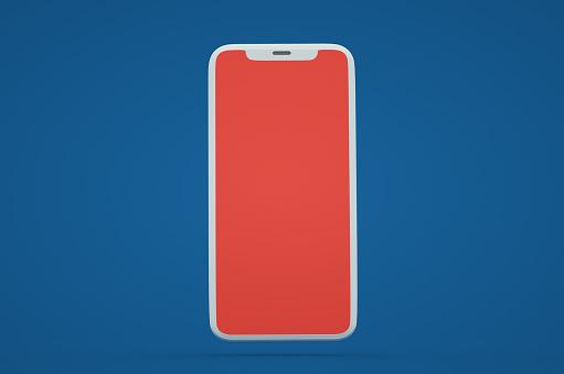 Portability「One smartphone mockup on blue background. 3d phone render」:スマホ壁紙(5)