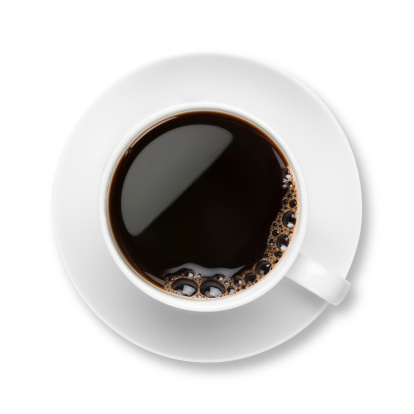 Tasting「Black coffee with bubbles in white cup with saucer」:スマホ壁紙(2)