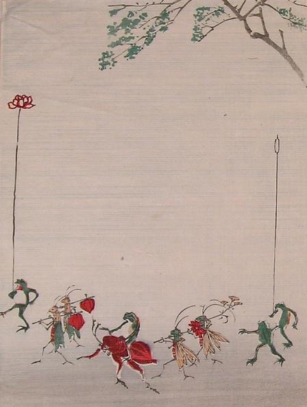 かえでの葉「Set of woodblock prints depicting: Statibery Frog, Octopus Monkey, Frogs and Owl, and Bats with Maple Leaves」:写真・画像(15)[壁紙.com]