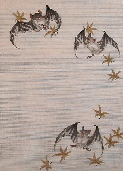 かえでの葉「Set of woodblock prints depicting: Statibery Frog, Octopus Monkey, Frogs and Owl, and Bats with Maple Leaves」:写真・画像(3)[壁紙.com]