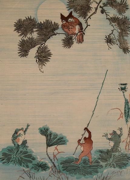 かえでの葉「Set of woodblock prints depicting: Statibery Frog, Octopus Monkey, Frogs and Owl, and Bats with Maple Leaves」:写真・画像(4)[壁紙.com]