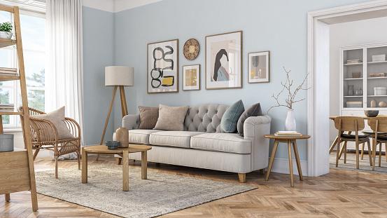 Pastel「Bohemian living room interior - 3d render」:スマホ壁紙(3)