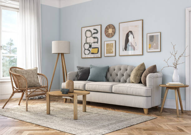 Bohemian living room interior - 3d render:スマホ壁紙(壁紙.com)