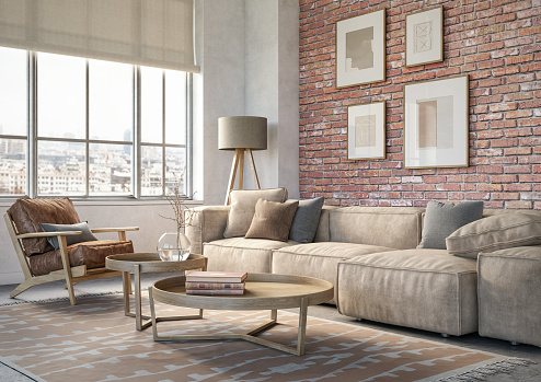 Pink Color「Bohemian living room interior - 3d render」:スマホ壁紙(12)
