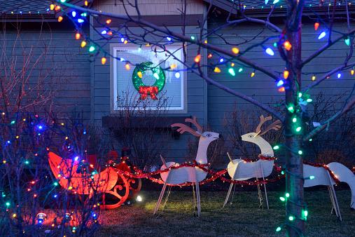 reindeer「Christmas decorations at private home, Bend,Oregon,USA」:スマホ壁紙(5)