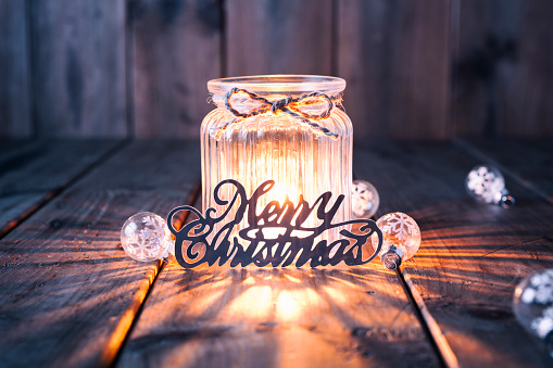 Christmas Lights「Christmas decoration on old wood - Candle Jar Card」:スマホ壁紙(0)