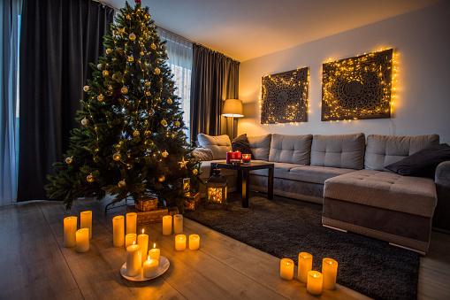 Christmas Decoration「Christmas decorations in xmas home」:スマホ壁紙(9)