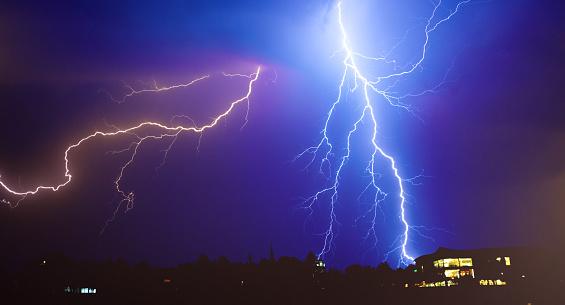 Forked Lightning「Lightnings, thunderstorm and rain in summer」:スマホ壁紙(4)