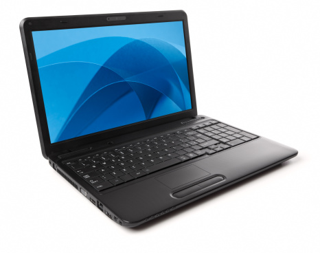 Design Element「Black laptop isolated on white with blue screensaver」:スマホ壁紙(7)