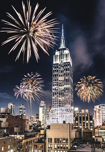 花火「新年の花火のためのニューヨーク市のエンパイアステート」:スマホ壁紙(6)