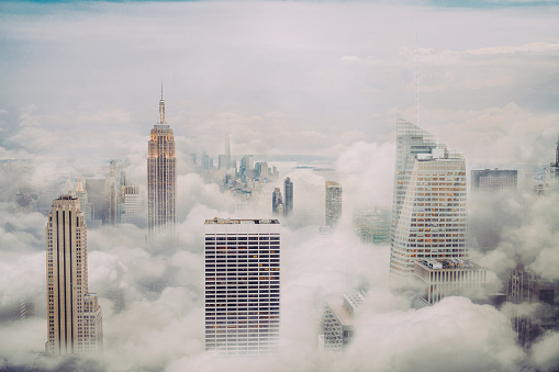 Aerial View「New york city skyline with clouds」:スマホ壁紙(4)