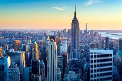 New York State「New York City Aerial Skyline at Dusk, USA」:スマホ壁紙(6)