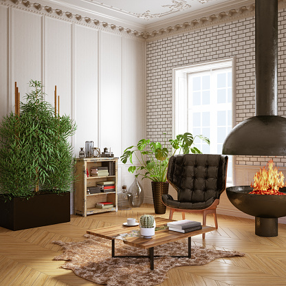 Chalet「Cozy Interior with Funiture and Fireplace」:スマホ壁紙(2)