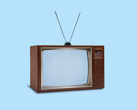 Television Industry「Retro 1970's Television On Blue Background」:スマホ壁紙(19)