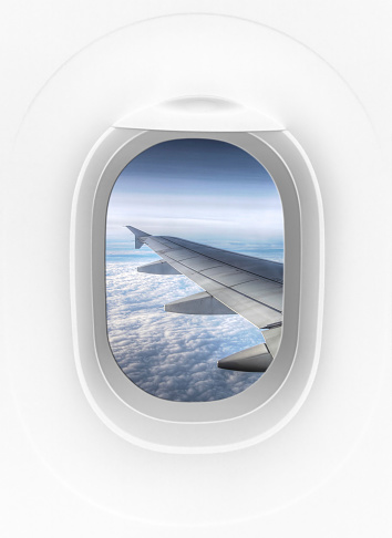 Porthole「View from inside of plane through airplane window at wing」:スマホ壁紙(12)