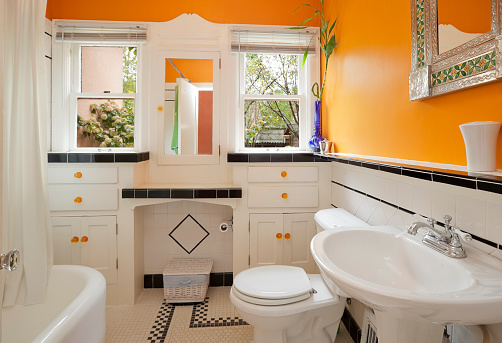 Orange Color「Bright orange and white colorful modern bathroom」:スマホ壁紙(0)