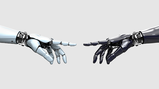 Global Communications「Black and white robot hand pointing at each other」:スマホ壁紙(15)