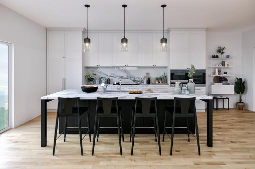 Black Color「Black and White Kitchen」:スマホ壁紙(9)