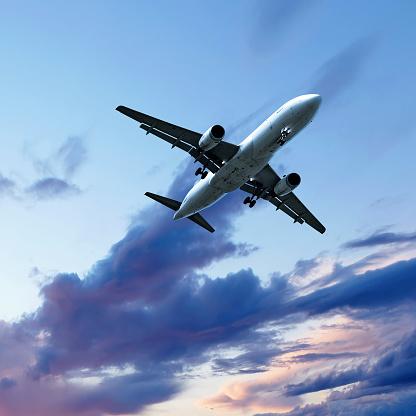 Approaching「jet airplane landing at sunset」:スマホ壁紙(0)