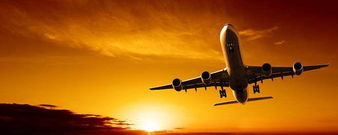 Approaching「jet airplane landing at sunset」:スマホ壁紙(15)