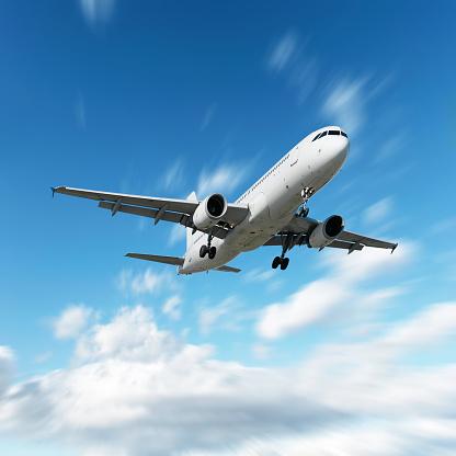 Approaching「XL jet airplane landing in motion blur sky」:スマホ壁紙(4)