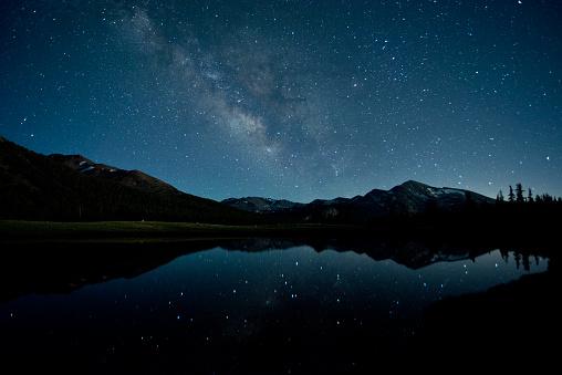 Standing Water「Milky Way reflecting in seasonal pond at 9,000 feet in Tuolumne Meadows, Yosemite National Park, California, USA」:スマホ壁紙(12)