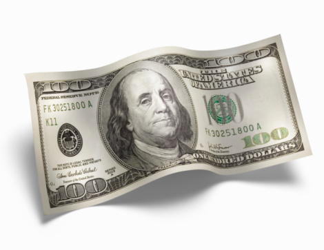 American One Hundred Dollar Bill「US 100 dollar bill, against white background, close-up」:スマホ壁紙(10)