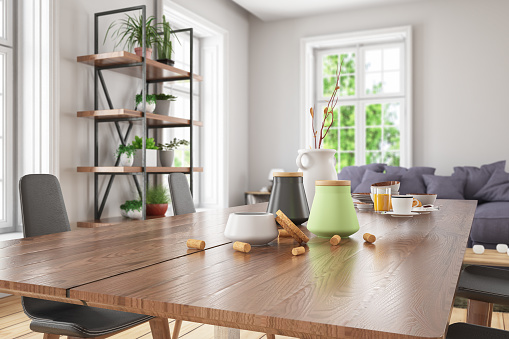 Domestic Kitchen「Wooden Table Top with Blur of Modern Living Room Interior」:スマホ壁紙(0)