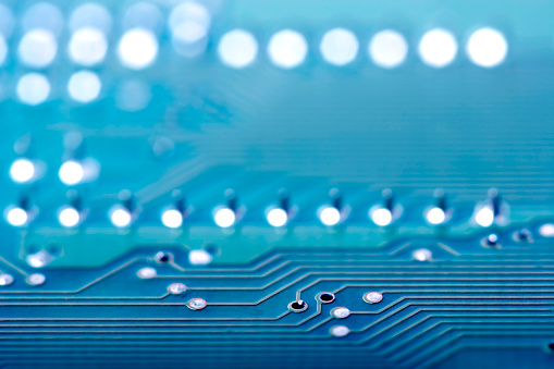 Electronics Industry「Close-up background image of a blue circuit board」:スマホ壁紙(2)