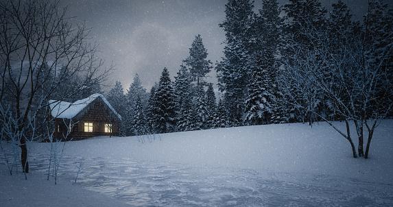 Chalet「Idyllic Winter Landscape」:スマホ壁紙(10)