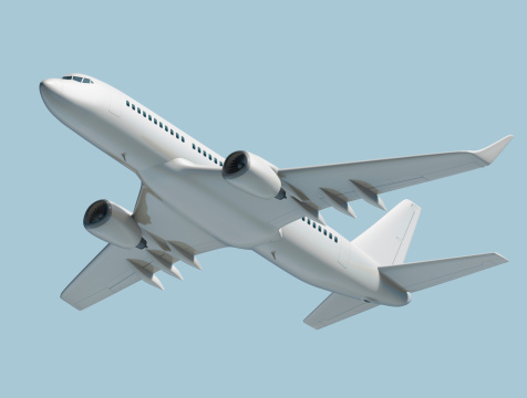 Commercial Airplane「Passenger jet airplane isolated on blue background」:スマホ壁紙(9)