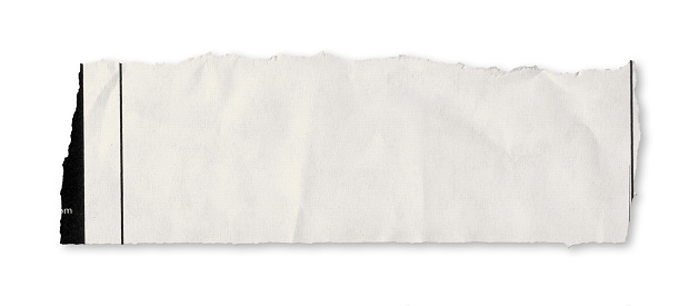 Writing「A single piece of torn newspaper on a white background」:スマホ壁紙(1)