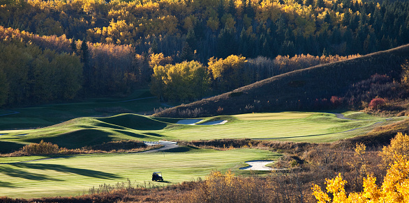 Sand Trap「Fall Golf Scenic With Cart and Beautiful Colours」:スマホ壁紙(14)