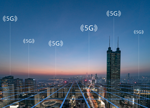 Internet of Things「Smart city and communication network concept Aerial View」:スマホ壁紙(10)