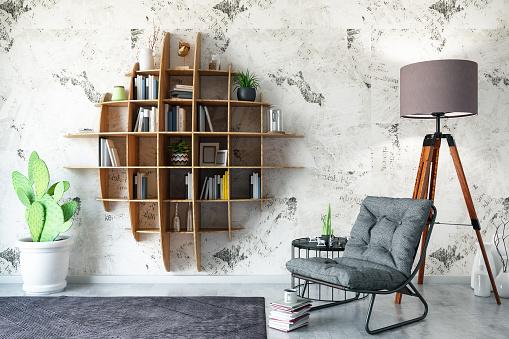 Reading「Creative Bookshelf Design with Armchair」:スマホ壁紙(14)