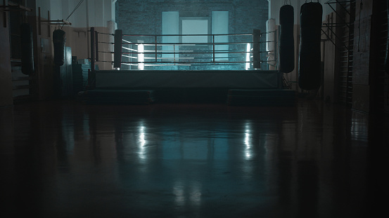 Gym「Box training interior. Boxing ring in background」:スマホ壁紙(17)