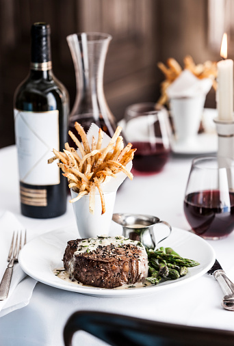 Filet Mignon「Gourmet pepper steak with french fries and red wine」:スマホ壁紙(4)