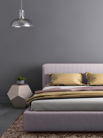 Bedroom「Bed with nightstand and wall lamp template」:スマホ壁紙(18)