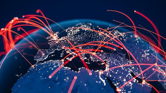 Internet of Things「Global Communication Network (World Map Credits To NASA)」:スマホ壁紙(11)