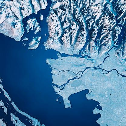 British Columbia「Vancouver 3D Render Satellite View Topographic Map Blue」:スマホ壁紙(12)