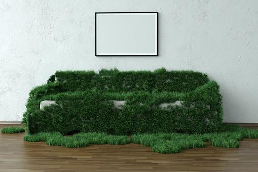Ecosystem「Grassy Sofa In Green House With Blank Frame」:スマホ壁紙(3)