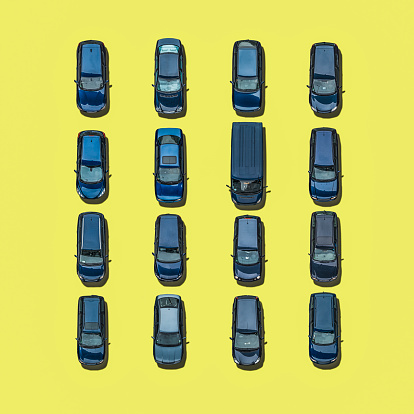 Digital Composite「Blue cars on yellow ground, Aerial View」:スマホ壁紙(0)