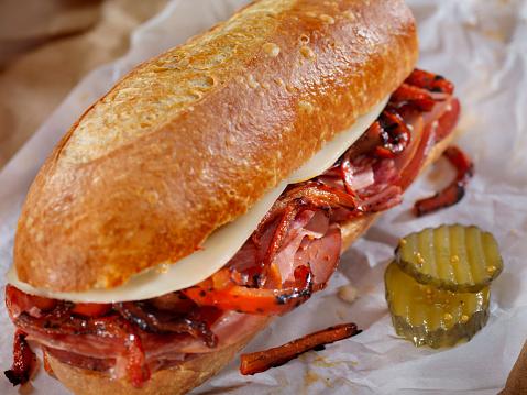 Bread「Italian Sandwich with Salami,Genoa, Prosciutto, Provolone and Red Peppers」:スマホ壁紙(5)