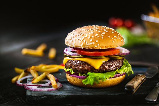 Cheeseburger「Delicious homemade hamburger and french fries」:スマホ壁紙(16)
